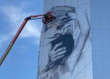 Confira o andamento do novo mural de Santa Dulce no Shopping Barra
