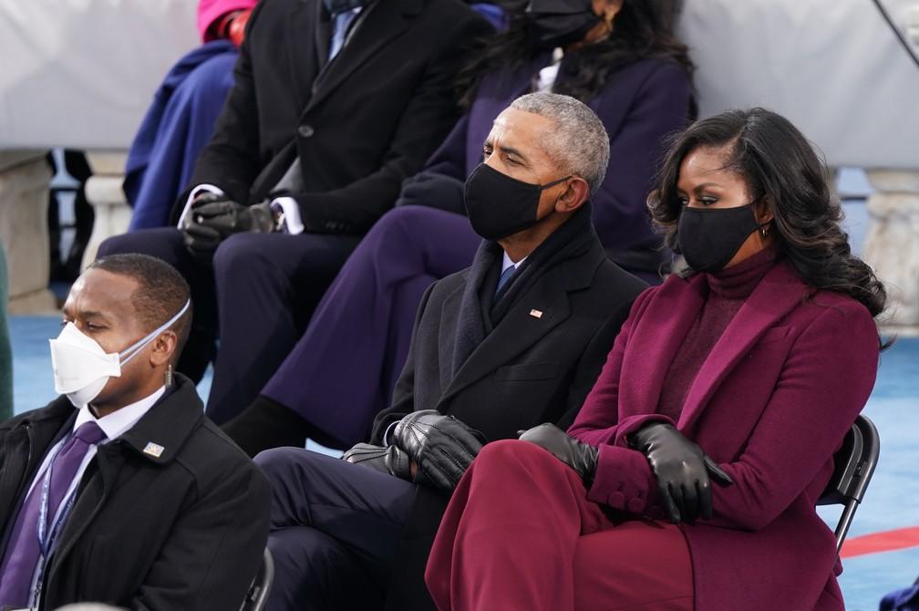 O ex-presidente dos EUA Barack Obama e sua esposa Michelle Obama