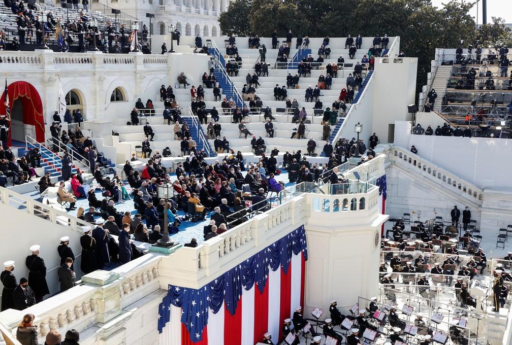 O presidente dos EUA, Joe Biden, fala durante sua posse