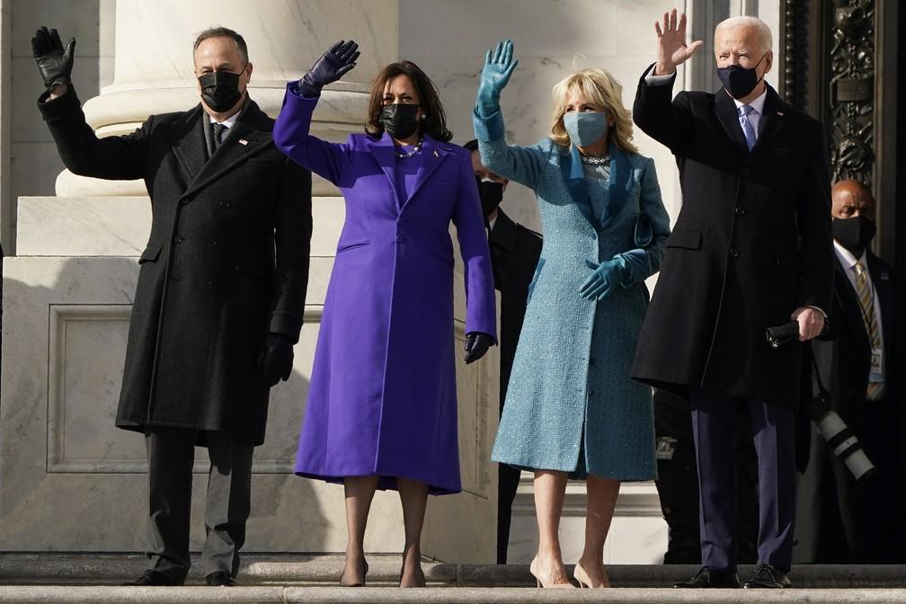Joe Biden e Kamala Harris chegam ao Capitólio
